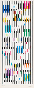 Prints & Multiples, Yaacov Agam (b. 1928). Tapestry, circa 1980. Screenprint in colors on wove paper. 20 x 7-7/8 inches (50.8 x 20 cm) (imag...