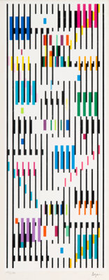 Yaacov Agam (b. 1928) Tapestry, circa 1980 Screenprint in colors on wove paper 20 x 7-7/8 inches