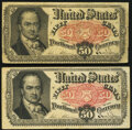 Fractional Currency:Fifth Issue, Fr. 1381 50¢ Fifth Issue (2) Fine-Very Fine.. ... (Total: 2 notes)