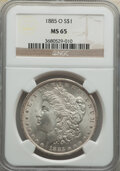 Morgan Dollars: , 1885-O $1 MS65 NGC. NGC Census: (29973/5306). PCGS Population: (21792/3358). CDN: $125 Whsle. Bid for NGC/PCGS MS65. Mintag...