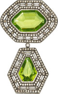 Estate Jewelry:Brooches - Pins, Diamond, Peridot, Silver-Topped Gold Brooch. ...