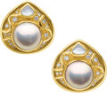 Estate Jewelry:Earrings, Mabe Pearl, Diamond, Mother-of Pearl, Gold Earrings, Marin...