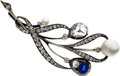 Estate Jewelry:Brooches - Pins, Diamond, Sapphire, Pearl, Silver-Topped Gold Brooch