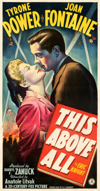 """This Above All (20th Century Fox, 1942). Very Fine- on Linen. Three Sheet (41.5"""" X 79"""") Style A"""