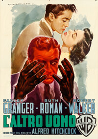 "Strangers on a Train (Warner Bros., 1951). Folded, Very Fine+. Italian 4 - Fogli (55"" X 78"") Luigi Martinati A..."