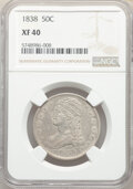 Reeded Edge Half Dollars, 1838 50C XF40 NGC. NGC Census: (87/1016). PCGS Population: (211/1202). CDN: $160 Whsle. Bid for NGC/PCGS XF40. Mintage 3,54...