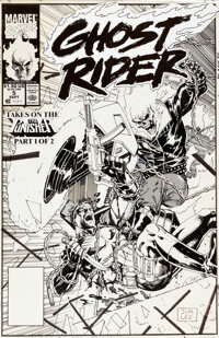 Jim Lee Ghost Rider #5 Cover The Punisher Original Art (Marvel, 1990)