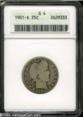 Barber Quarters: , 1901-S 25C Good 4 ANACS. A solid Good example of this ...