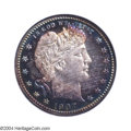 Proof Barber Quarters: , 1907 25C PR68 NGC. Very deeply toned, both sides exhibit ...