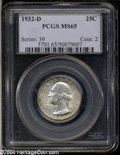 Washington Quarters: , 1932-D 25C MS65 PCGS. This key date Washington features ...