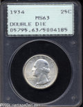 Washington Quarters: , 1934 25C Doubled Die Obverse MS63 PCGS. Doubling shows on ...