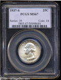 Washington Quarters: , 1937-S 25C MS67 PCGS. Highly lustrous, and lightly toned ...