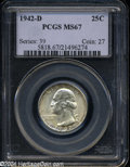 Washington Quarters: , 1942-D 25C MS67 PCGS. Rarely seen any finer, this Superb ...