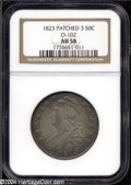 Bust Half Dollars: , 1823 50C Patched 3 AU58 NGC. O-102, R.4. Richly toned ...