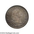 Early Dollars: , 1795 $1 Flowing Hair, Two Leaves. Struck over previously ...