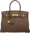 Luxury Accessories:Bags, Hermès 30cm Etoupe Togo Leather Birkin Bag with Gold Hard...