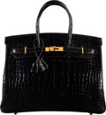 "Luxury Accessories:Bags, Hermès 40cm Shiny Black Alligator Birkin Bag with Gold Hardware. F Square, 2002. Condition: 3. 15.5"" Width x 11"" H..."
