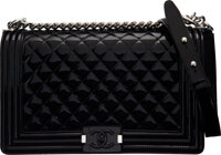"Chanel Black Quilted Patent Leather Medium Boy Bag with Silver Hardware Condition: 2 11"" Width x 7"" Height x 3..."