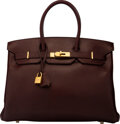 """Luxury Accessories:Bags, Hermès 35cm Havane Swift Leather Birkin Bag with Gold Hardware . N Square, 2010. Condition: 4. 14"""" Width x 10"""" Hei..."""