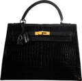 "Luxury Accessories:Bags, Hermès 32cm Vintage Black Crocodile Sellier Kelly Bag with Gold Hardware. O Circle, 1985. Condition: 4. 12.5"" Widt..."