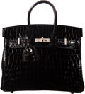 Luxury Accessories:Bags, Hermès 25cm Shiny Black Niloticus Crocodile Birkin Bag with Palladium Hardware. D, 2019. Condition:...