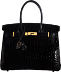 "Luxury Accessories:Bags, Hermès 30cm Shiny Black Niloticus Crocodile Birkin Bag with Gold Hardware. O Square, 2011. Condition: 2. 12"" Width..."