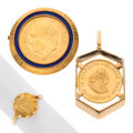 Estate Jewelry:Lots, Gold Coin, Enamel, Gold Jewelry Lot. ... (Total: 3 Items)