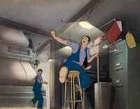 Superman (The Mad Scientist) Production Cel Setup with Key Master Background (Max Fleischer, 1941)