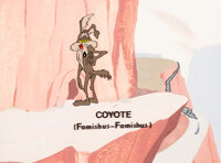 Ready, Set, Zoom Production Background with Custom Wile E. Coyote Cel (Warner Brothers, 1955)
