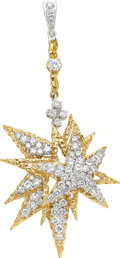 Estate Jewelry:Pendants and Lockets, Diamond, Gold Pendant The pendant features ful...