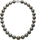 Estate Jewelry:Necklaces, South Sea Cultured Pearl, Diamond, White Gold Necklace...