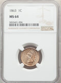 Indian Cents: , 1863 1C MS64 NGC. NGC Census: (679/250). PCGS Population: (1015/384). CDN: $325 Whsle. Bid for NGC/PCGS MS64. Mintage 49,84...