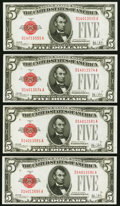 Small Size:Legal Tender Notes, Fr. 1526 $5 1928A Legal Tender Notes. Four Examples. Crisp Uncirculated or Better.. ... (Total: 4 notes)