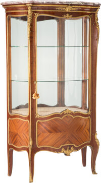 A Francois Linke Mahogany Vitrine with Marble Top and Gilt Bronze Mounts, late 19th-early 20th century Marks: F