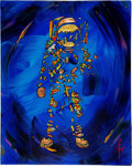 """Explorers:Space Exploration, Mimi Stuart Original Ore-Embellished Oil on Canvas """"Wild Blue Yonder,"""" of Buzz Aldrin on the Moon, Originally from His Persona..."""