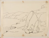 Winsor McCay Gertie the Dinosaur Production Drawing #196 (1914)