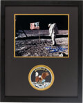 Explorers:Space Exploration, Buzz Aldrin Signed Apollo 11 Lunar Surface Flag Color Photo Matted and Framed with an Embroidered Mission Insignia Patch. ...