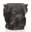 Carvings, A Chinese Carved Hardwood Brush Pot 6-1/8 x 6-3...