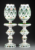 Lighting, A Pair of Continental Cut to Clear Bohemian Glass Lamps, 20th century. 23-5/8 x 7-1/2 inches (60.0 x 19.1 cm) (each). ... (Total: 2 Items)