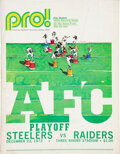 Football Collectibles:Programs, 1972 Immaculate Reception Steelers vs. Raiders Game Program and Ticket Stub. ...
