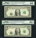 Shifted Black Portion of Third Printing Error Fr. 1909-K $1 1977 Federal Reserve Notes. Two Consecutive Examples. PMG Ch...