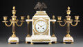 Clocks & Mechanical, A Three-Piece French Empire-Style Marble Clock Garniture, late 19th-early 20th century. Marks to clock face: LEFEVRE, PARI... (Total: 3 Items)