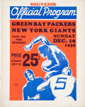 Football Collectibles:Programs, 1939 NFL Championship Game Program - Packers Victory Over the Giants. ...