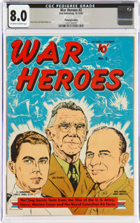 War Heroes #2 Pennsylvania Pedigree (Dell, 1942) CGC VF 8.0 Off-white to white pages