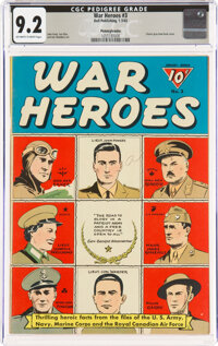 War Heroes #3 Pennsylvania Pedigree (Dell, 1943) CGC NM- 9.2 Off-white to white pages