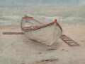 Paintings, Emil Carlsen (American, 1853-1932). Fishing Boat on Shore, 1885. Oil on canvas. 12 x 16 inches (30.5 x 40.6 cm). Signed,...