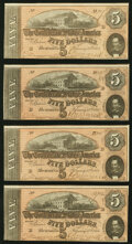 Confederate Notes:1864 Issues, Four Consecutively Numbered T69 $5 1864 PF-9 Cr. 563 About...