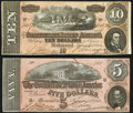 Confederate Notes:1864 Issues, T68 $10 1864 PF-20 Cr. 546 Very Fine; T69 $5...
