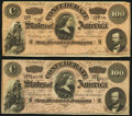 Confederate Notes:1864 Issues, T65 $100 1864 PF-1 Cr. 490 Two Examples Fine, Fine-Very Fine.. ... (Total: 2 notes)