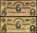 Confederate Notes:1864 Issues, T65 $100 1864 PF-1 Cr. 490 Fine-Very Fine;. T65 $100 1864 PF-3 Cr. 494 Very Good-Fine.. ... (Total: 2 ...